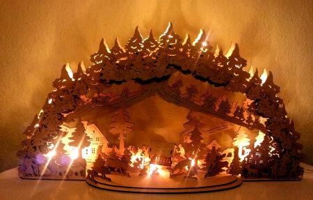 Laubsägevorlage 3D-Schwibbogen Waldlichtung 67cm