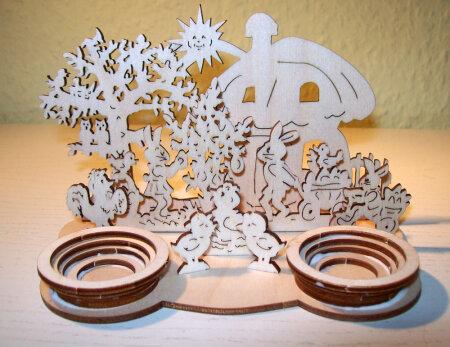 Laubsägen Ostern Tischdekoration Eierhalter Teelicht