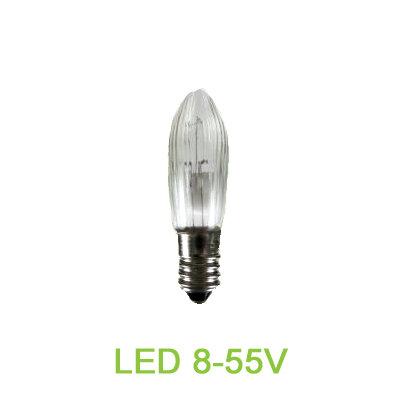 LED Spitzkerze 8-55V E10 Riffelkerze Ersatzkerze Schwibbogen